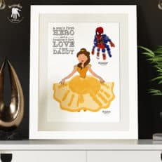 Dad handprints footprints keepsake Belle Spiderman