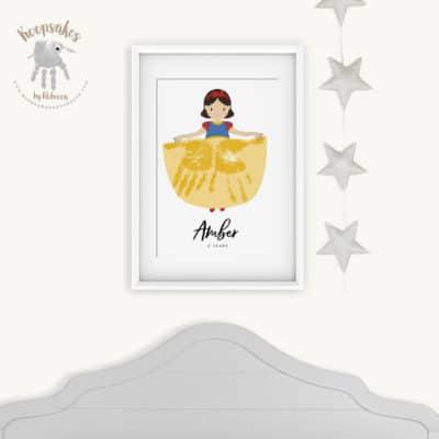 Personalised Nursery Print-Handprint-Princess-Snow White